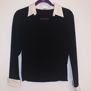 black blouse with white cuffs and collar | Size S